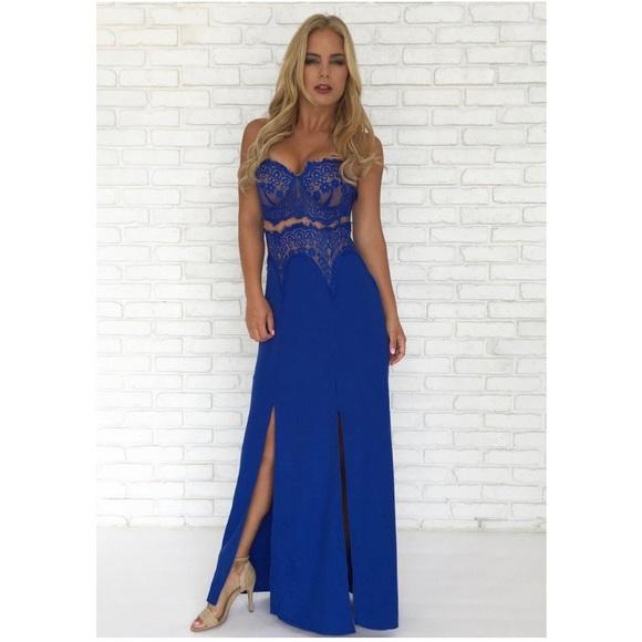 3b4ecb40c1 Lace Maxi Dress in Royal Blue. NWT. Dainty Hooligan